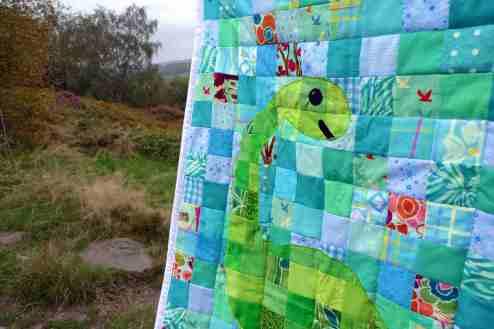 Dino quilt - close up
